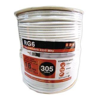 IPM สายนำสัญญาณRG6 ชิลด์ 64% ยาว305เมตร - สีขาว
