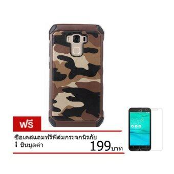 Anbee เคสลายทหาร Asus zenfone selfie(zd551kl)+ ฟิล์มกระจกนิรภัย