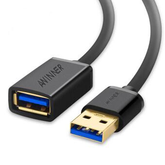 AWINNER USB 3.0 ส่วนในเพศชายสายยูเอสบีขยายสายไฟสีดำ (0.5M รอบ)