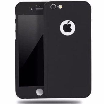 (ซื้อ 1 แถม 1) 360° Hard Ultra thin Case + Tempered Glass Cover For iPhone เคสประกบ Iphone 6/6S รุ่น เมทาลิค (สีดำ)