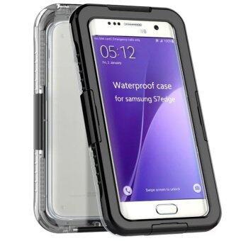 ซัมเมอร์บีช 2559 Fullcover ผนึกคงทนกันน้ำว่ายน้ำเคสสำหรับ Samsung Galaxy S7 เคสกันกระแทกโทรศัพท์สีดำ