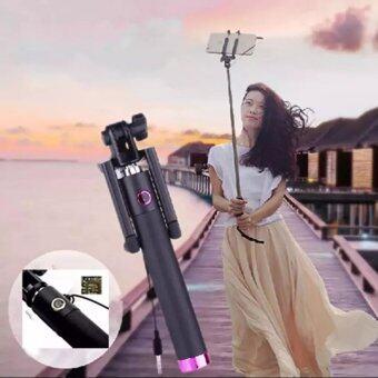 Monopod Selfie Stickไม้เซลฟี่สีดำพร้อมตัวกดถ่ายรูปในตัว