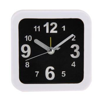 Harga Black White Alarm Clock Table Clock(Square)