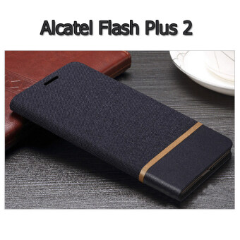 Alcatel Case เคสฝาพับหนัง PVC มีช่องใส่บัตร Flash Plus 2 (สีดำ)