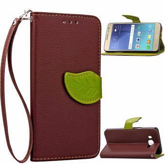 ใบกระเป๋าสตางค์หนัง pu ฝาฟลิปเฉพาะบูธสำหรับ Samsung Galaxy J2 SM-J200F (สีน้ำตาล)
