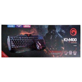 Marvo ชุด keyboard คีย์บอร์ด + mouse เมาส์ ไฟ 3 สี รุ่น KM400 (สีดำ)