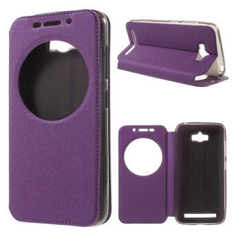 Harga Sand-like Texture Smart View Leather Cover for Asus Zenfone Max ZC550KL - Purple - intl