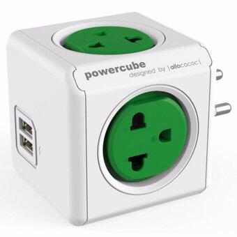 ปลั๊กไฟ Universal ปลั๊กลูกเต๋าป้องกันไฟกระชาก มีช่องUSBชาร์ต CUBE ALLOCACOC 4600GN/THOUPC Green(Green)
