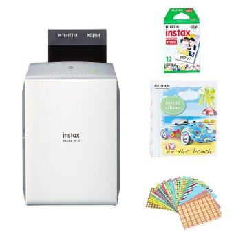Fujifilm Instax Share SP-2 (Silver) + Film 10 sheets + Sticker Frame (คละแบบ/คละสี) 10 แผ่น + Album (คละแบบ/คละสี)