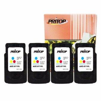 Pritop/Canon Inkjet MP237/IP2770/MX347/MX357/MX328/MP287/MP497/MP366/MX416/MX426/MP245/MP486/MX338/MP496/MP258 ใช้ตลับหมึกอิงค์เทียบเท่า รุ่น811/CL 811/CL 811XL/CL-811XL จำนวน 4 ตลับ