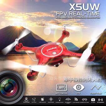 Drone ติดกล้อง วาดเส้นทางการบินได้ WiFi FPV 720P HD พร้อมระบบถ่ายทอดสดแบบ Realtime(มีระบบ ล็อกความสูง)สีแดง