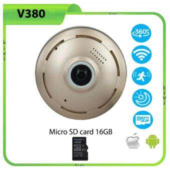 CCTV WIFI IP Camera 360 Fisheye Panoramic Dome Camera 1.3MP 960P ONVIF CCTV Night Vision Video Surveillance Security 360 องศาพาโนรามากล้องวงจรปิดไร้สาย HD ไร้สาย VR IPCam V380 และ Micro SD card 16GB