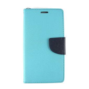 ACT เคส Asus Zenfone 5 สีฟ้า LIGHT BLUE แบบหน้าเต็ม มีเข็มขัด ใส่นามบัตรได้ ฝาหลัง แบบนิ่ม ทูโทน.