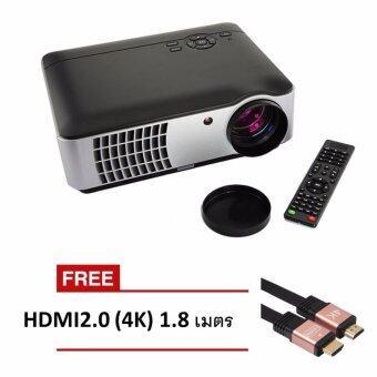 โปรเจคเตอร์ RD806 LED All in one Multimedia 2800 Lumens (สีดำ) ฟรี HDMI V2.0 (4K) 1.8 M