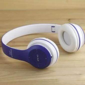 DT หูฟังบลูทูธแบบครอบหู รุ่น P47 Wireless (สีน้ำเงิน/ขาว)