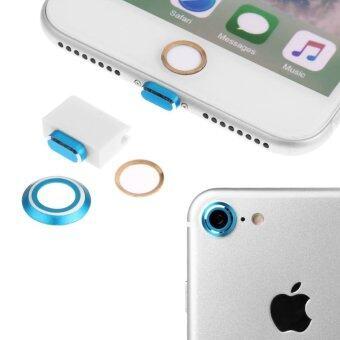 ปกหลังกล้อง+ปุ่มโทรศัพท์บ้าน+Lightning ป้องกันฝุ่นปลั๊กสำหรับ iPhone 7 4.7 สี