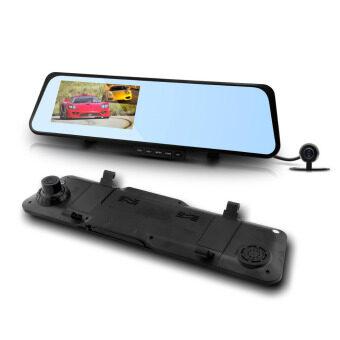 กล้องติดรถยนต์ รูปทรงกระจกมองหลัง 6000C Full HD 1080P พร้อมกล้องถอยหลัง -สีดำ