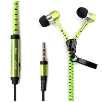 ในหูหูโทรศัพท์หูฟัง Wirelessed ซิปชุดหูฟัง (สีเขียว)