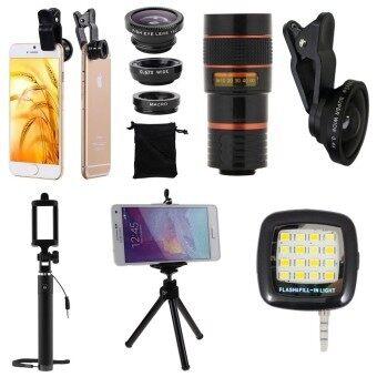 1Choice ชุดอุปกรณ์สำหรับถ่ายภาพ สำหรับโทรศัพท์มือถือ Clip Lens 3 in 1+Super Wide 4X+Len Zoom 8X+ไม้เซลฟี่+ขาตั้งมือถือ 3 ขา+มินิแฟลช (สีดำ)