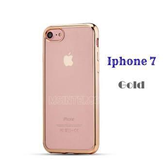 Case เคส ไอโฟน7 Iphone7 เคสนิ่ม TPU ขอบทอง เคสใส หรูหรา สีทอง Gold วัสดุ คุณภาพดี พร้อมส่ง