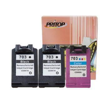 PRITOP HP ink Cartridge 703BK*2/703CO*1 ใช้กับปริ้นเตอร์ HP DeskJet K209A/K109A/F735 AIO Pritop