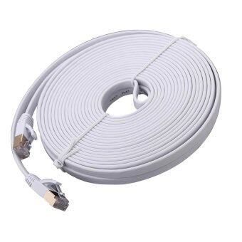 Harga Ultra-slim Flat Type Cat.7 High-Speed LAN Cable สายแลน CAT 7 10M (White)