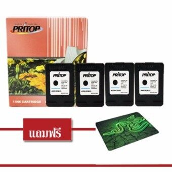 Pritop/HP DeskJet 1112, 2130,2132,3630,3632/ENVY 4512,4516,4520,4522,4655ใช้ตลับหมึกอิงค์เทียบเท่า รุ่น63BK-XL ดำ4ตลับ แถมฟรีแผ่นรองเมาส์ 1 แผ่น