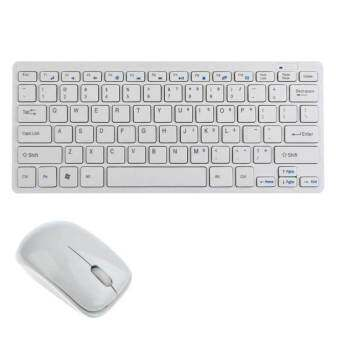 9final Modern Design Ultra Thin Design 2.4GHz Mini Wireless Keyboard + Cover + Mouse Kit for Desktop Laptop PC Computer (White)