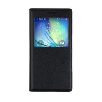 ดูหนังหนังหรูหรากระจกดีดปิดสำหรับ Samsung Galaxy A7 (สีดำ)