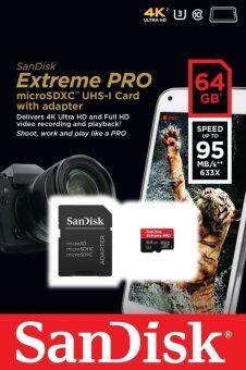 Sandisk เมมโมรี่การ์ด Extreme Pro microSDXC 64GB Class 10 UHS-I U3 95 MB/s For Go Pro Hero