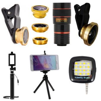 1Choice ชุดอุปกรณ์สำหรับถ่ายภาพ สำหรับโทรศัพท์มือถือ Clip Lens 3 in 1+Super Wide 4X+Len Zoom 8X+ไม้เซลฟี่+ขาตั้งมือถือ 3 ขา+มินิแฟลช (สีทอง)