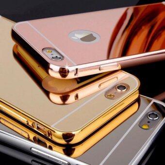 iphone6 iphone6s เคสกระจก ไอโฟน6 6s New Bumper Mirror Case 2 in 1 Gold Rose Gold 18k 24k Aluminium Miror ขอบอลูมิเนียม (สีทอง)