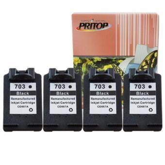 PRITOP HP Ink Cartridge 703BK ตลับหมึกอิงค์เทียบเท่า Pritop หมึกสีดำ 4 ตลับ