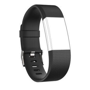 Seeme สายสำหรับ Fitbit ประจุ 2 ซิลิโคนนิ่มรัดสายปรับได้เปลี่ยนกีฬาสำหรับ Fitbit Charge2 อัตราการเต้นของหัวใจ+ออกกำลังกายสายรัดข้อมือ (สีดำ)Intl