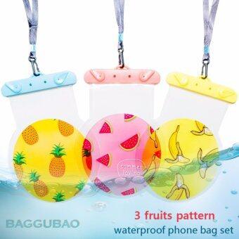 ขายส่ง ซองกันน้ำ เคสกันน้ำ 3 ซอง 3 ลาย ซองใส่โทรศัพท์มือถือ อุปกรณ์เสริมโทรศัพท์มือถือ ถุงกันน้ำ กระเป๋ากันน้ำ พิมพ์ลายผลไม้ (ชมพู เหลือง ส้ม)