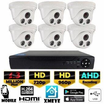 ชุดกล้องวงจรปิดกล้อง 8CH CCTV กล้อง 6ตัว โดม 1.3MP HD และอนาล็อก เครื่องบันทึก 8ช่อง 1080N DVR, NVR, AHD, TVI, CVI, Analog(White)