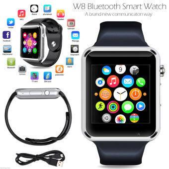 Pandaoo W8 นาฬิกาข้อมือโทรศัพท์บลูทูธเก๋เพื่อน+กล้องซิมสำหรับ iPhone Android IOS HTC (สีน้ำเงิน)