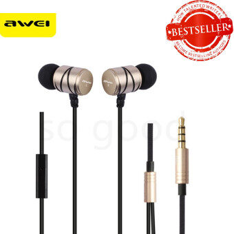 Awei หูฟัง Q5i In-Ear Earphone 3.5mm Jack Universal Smart Earphone (gold/black)