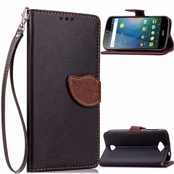 ใบกระเป๋าสตางค์หนัง pu ฝาฟลิปเฉพาะบูธสำหรับ Acer Liquid Z530 (สีดำ)