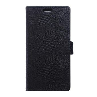 Harga Croco Skin Leather Wallet Case for Lenovo A7010 / Vibe X3 Lite / K4 Note - Black - intl