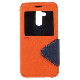 Harga ROAR KOREA Leather Card Slot Mobile Cover with View Window for Asus Zenfone 3 Max ZC520TL Phone Cases - Orange - intl