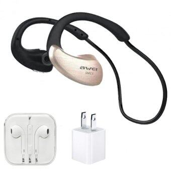 AWEI Wireless WaterProof Stereo Headset A885BL IPX4 Level (ทอง)+หูฟังเกรดA+AdapterUSB