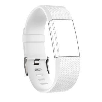 Seeme สายสำหรับ Fitbit ประจุ 2 ซิลิโคนนิ่มรัดสายปรับได้เปลี่ยนกีฬาสำหรับ Fitbit Charge2 อัตราการเต้นของหัวใจ+ออกกำลังกายสายรัดข้อมือ (ขาว)Intl