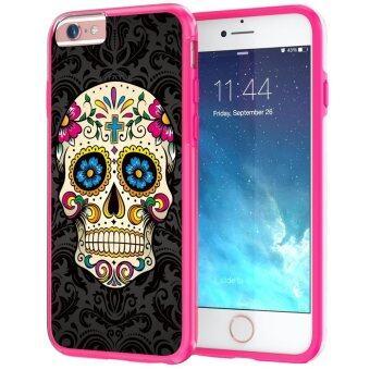 555jewelry เคสไฮบริดสำหรับ iPhone6/iPhone6s จากTrue Color® ขอบ TPU แบบนิ่มไม่บาดตัวเครื่องสีชมพู ด้านหลังเคสแบบแข็งพร้อมลายSugar Skull on Damask HD Print