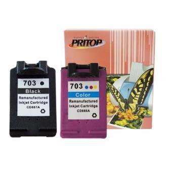 PRITOP HP ink Cartridge 703BK*1/703CO*1 ใช้กับปริ้นเตอร์ HP DeskJet K209A/K109A/F735 AIO Pritop