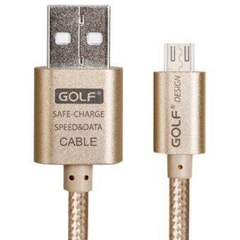 Golf 1M Metal Quick Charge&Data Cable สายชาร์จ Micro USB สำหรับ Samsung/Android สายถักยาว 1เมตร(สีทอง)