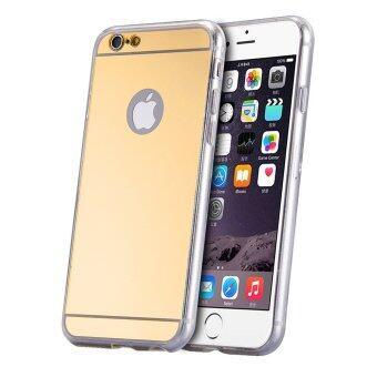 ซิลิโคนตกแต่งอุลบางเคสกระจกโลหะสำหรับ iPhone 6/6S (ทอง)