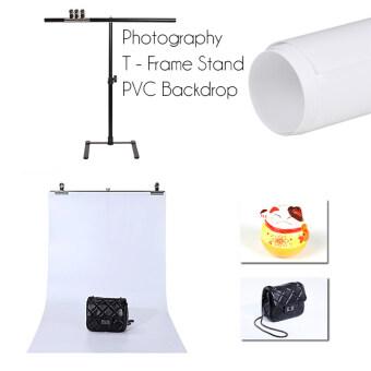Photography T - Frame Stand + PVC Backdrop โครงฉากถ่ายภาพสินค้า ขนาด 70 x 140 พร้องแผ่น PVC ขาว 1 ชุด