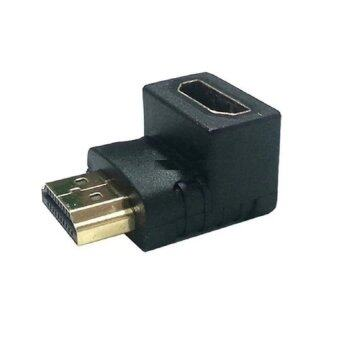 HDMI Wellcore/oem ตัวต่อสาย HDMI แบบงอ สำหรับพื้นที่แคบในการเสียบช่อง HDMI ของทีวี (สีดำ)