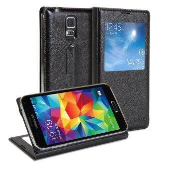 GMYLE เคส Galaxy S5 เคสหนัง PU (สีดำ)